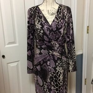David Meister purple snakeskin dress
